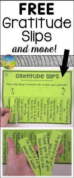 FREE gratitude slips and other fun activities to practice gratitude