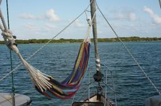 Must put a hammock on the boat for star gazing and frivolous novels; this one is a Columbian/Kuna Hammock on s/v Winterlude, via Commuter Cruiser Buy A Boat, Make A Boat, Build Your Own Boat, Sailboat Living, Living On A Boat, Sailboat Interior, Sailboat Decor, Boat Insurance, Wooden Boat Building
