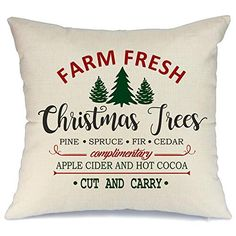 "Vintage Farm Fresh Christmas Tree Cushion Cover Xmas Throw Pillow Case Decor 18/"""