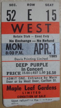 Deep Purple In Concert 1985 Ticket Stub Maple Leaf Gardens Toronto Red Seat NM From The Mighty Finwah Collection Safely Stored For Over 32 Years UNIQUE ITEMS FOR UNIQUE PEOPLE Shipping will be within 2 days of your payment All Sales are Guaranteed Satisfaction We are Fans so we know what fans Expect Ticket Stubs, Deep Purple, Concerts, Toronto, Fans, Gardens, Unique, People, Red