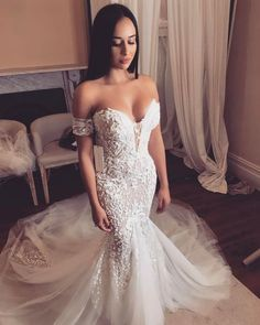 Mermaid Wedding Dresses with Train Glamorous Mermaid Sweetheart Open Back Ivory Lace Wedding Dresses Ivory Lace Wedding Dress, Luxury Wedding Dress, Wedding Dresses For Sale, Bridal Dresses, Wedding Gowns, Bridesmaid Dresses, Tulle Wedding, Wedding Bride, Wedding Ceremony Ideas