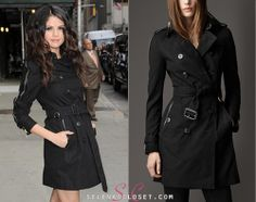 Ever since Selena Gomez arrived in NYC we've had a LOT of requests for her new black coat. It is a Burberry Mid-Length Garbardine Zip Detail Trench Coat in color Jet Black. This trench coat will set you back $2,195.00!  Buy it HERE  We'll update this post shortly with a cheaper alternative :)