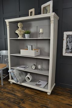 This rustic antique pine bookcase from Holland, has plenty of wide shelf space, just perfect for storing all your wares! We've aged with dark wax and lightly distressed to enhance this piece. http://www.thetreasuretrove.co.uk/cabinets-and-storage/white-and-grey-antique-pine-shabby-chic-bookcase
