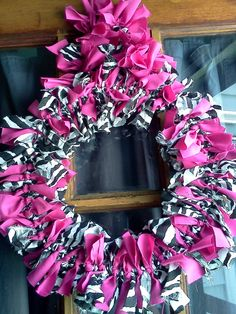 "Pink and Zebra Print Rag Wreath Hand Made 15"". $45.00, via Etsy."