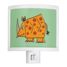 Funny Rhino Nightlight #rhinos #nightlights #funny #animals #art And www.zazzle.com/tickleyourfunnybone*