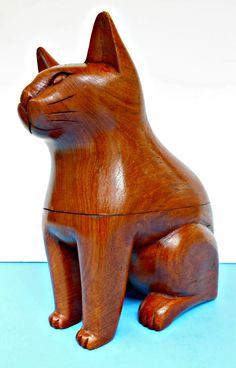 Дерево Cat Box Резные деревянные Cat азиатский кот по TheOldCatHouse на Etsy