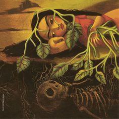 """Detalle de una de las ilustraciones de Benjamin Lacombe para """"Frida"""", de Sébastien Perez. Este maravilloso álbum ilustrado es una de las novedades de Edelvives para la Navidad 2016."""