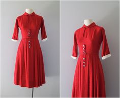 40s dress / 1940s classic red day dress / Red Robin dress. $94.00, via Etsy.
