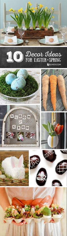 Beautiful blooms, eggs and bunnies make these DIY decor ideas perfect for spring.