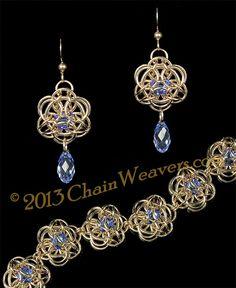 Nymphaea Earrings ♖♖♖ : Chainmaille Jumprings Kits Tutorials and more, chainmaille jumprings and more