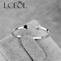 LCEOL Rose Gold Colour Open Ring  Fashion Jewelry Crystal White Black Onyx Gold Colour Tail Opening Ring For Women open Rings