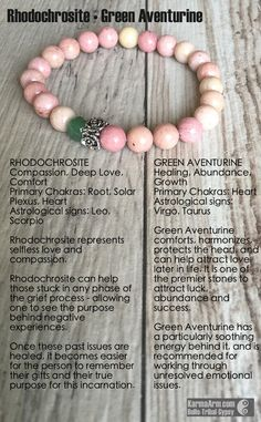 Rhodochrosite is a powerful & beautiful stone - and one we don't see often. The floral rondelle seemed a perfect fit with the shades of pink and green. MANTRA: I attract love and compassion into my li
