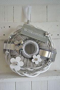 Türkranz Wandkranz 30 cm Willkommen Landhaus grau/weiß
