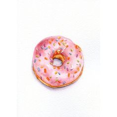 Strawberry Donut ORIGINAL Painting (Still Life, Kitchen Wall Art,... ❤ liked on Polyvore featuring home, home decor, wall art, paper wall art, water color painting, watercolour painting, watercolor painting and water colour painting