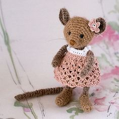 Tiny Pink Forest Mouse by Irene Holmgren
