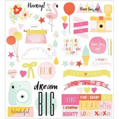 American Crafts Dear Lizzy ACCENTS AND PHRASES With Glossy Accents Fine and Dandy Stickers 370091 zoom image