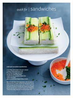 Donna Hay entertaining issue // crab and cucumber sandwiches