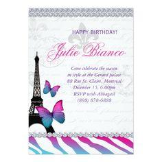Shop Birthday Party Paris Card Eiffel Tower Butterflies created by texas_star. Paris Invitations, Butterfly Invitations, Sweet Sixteen Invitations, Birthday Party Invitations, Invites, Zebra Print Birthday, Butterfly Birthday Party, Birthday Ideas, Paris Birthday Parties