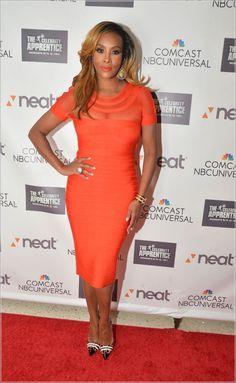 Vivica Fox in Orange Bandage Dress