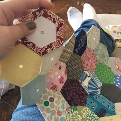 First time at #englishpaperpiecing. Hoping to whittle down my fabric scraps. #quilting #epp