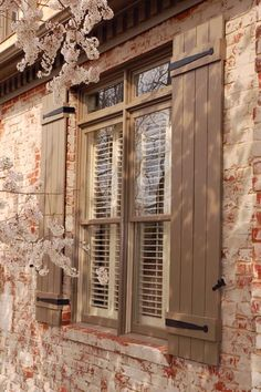 Hand forged Shutter straps and shutter dogs as well as hinges and handles add beauty to your doors and windows Window Shutters Exterior, Outdoor Shutters, Farmhouse Shutters, Rustic Shutters, Diy Shutters, Modern Farmhouse Exterior, Shutter Dogs, Porch Windows, House Blinds