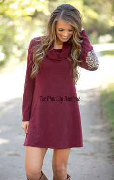 Come To Me Sweater Dress Burgundy - The Pink Lily Boutique