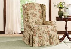 Sure Fit Slipcovers Bridgewater Floral by Waverly� Wing Chair Slipcovers - Wing Chairs