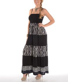 This Black & Gray Swirl Smocked Maxi Dress - Plus by Shoreline is perfect! #zulilyfinds