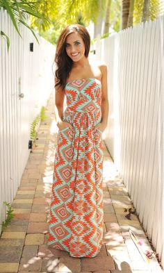 Dottie Couture Boutique - Mint/Orange Tribal Maxi, $42.00 (http://www.dottiecouture.com/mint-orange-tribal-maxi/)