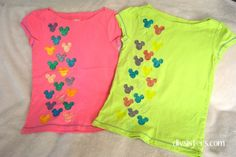 20 DIY Disney Shirts (Not Another Round-up!) Glitter Mickey Mouse in princess colors