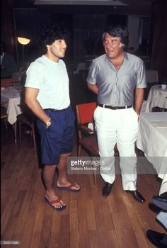 Diego Armando Maradona, meets Omar Sívori former Napoli player at the Royal Continental Hotel, Maradona's temporary residence on 1984 in Naples, Italy.