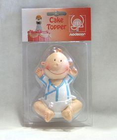 Top cake Baby azzurro. Bambino seduto in resina H.11 cm per decorare Torte e non solo. Topper torta maschietto. Nascita, battesimo, compleanno. Disponibile da C&C Creations Store