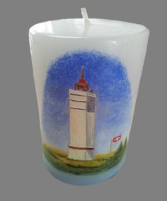 Hand painted candle lighthouse