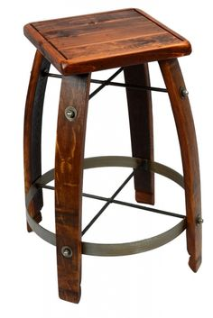 This stool is made from reclaimed wine barrels, making each one unique! Shown with a wooden seat, available in kitchen or bar height. Sold at Peters Billiards in Minneapolis, MN.