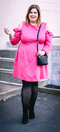 Sharing my look for Valentines Day 2017. This hot pink shift dress with a ruffle cold shoulder detail is flirty yet sophisticated.