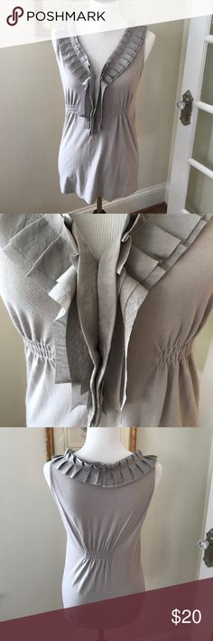 Ruffled knit top Feminine ruffled knit top great for summer. 60% cotton and 50% Modal makes for a nice fit. In a pretty taupe/pewter color. LOFT Tops Blouses