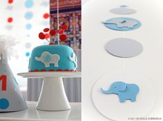 Adorable blue elephant boy cake... maybe for baby shower.