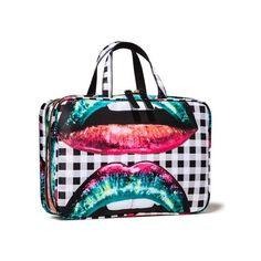 Sonia Kashuk Lips Print Weekender (€27) ❤ liked on Polyvore featuring bags and luggage