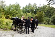 The bride arrives in style at the reception at Sunrise Lodge on Splendor Mountain