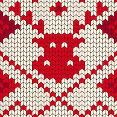 Red Reindeer Christmas Knitted Seamless Pattern