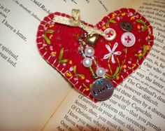 "Heart Pin, 4-1/2"" x 3-1/2"", upcycled, hand embrodiered, beaded, bejeweled, stamped metal"