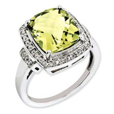 Cushion Checkerboard Cut Lemon Quartz Diamond Sterling Silver Ring  Available Exclusively at Gemologica.com