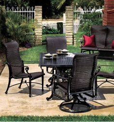 Grand Terrace Wicker Dining Outdoor Patio Set by Gensun You can count on Gensun to provide beautiful Patio Furniture that blends vintage tastes with contempo Outdoor Dining Furniture, Outdoor Rooms, Outdoor Decor, Outdoor Living, Hearth And Patio, Grand Terrace, Outdoor Seating, Weave, Lanai