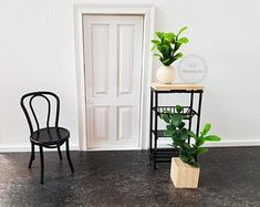 Check out our dollhouse miniatures selection for the very best in unique or custom, handmade pieces from our dollhouse miniatures shops. Black Metal Chairs, Wishbone Chair, Dollhouse Miniatures, Table, Furniture, Plants, Home Decor, Etsy, Decoration Home