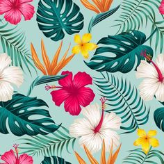 Tropical leaves, jungle leaves seamless ... | Premium Vector #Freepik #vector #pattern #flower #floral #leaf Tropical Art, Tropical Leaves, Tropical Flowers, Green Leaf Background, Tropical Background, Tropical Wallpaper, Flower Wallpaper, Images Jungle, Leaf Drawing