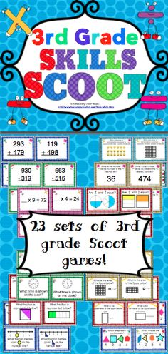 3rd Grade Math Skills Scoot -  Your students will have a blast working on 3rd grade math skills with this set of 23 Scoot games! Scoot is a fast paced, whole class game that is simple to make and LOTS of fun! These Scoot cards are also great for centers and small groups! $