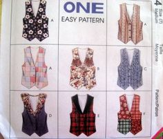 McCALLS Sewing Pattern 7314 - SZ 8,10 - GIRLS VEST - 8 VIEWS