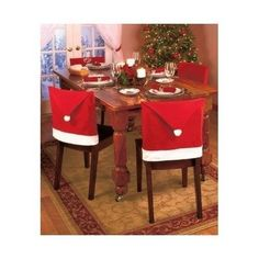 santa chair covers sets posture operators lx hat set of 8 pcs clause red back