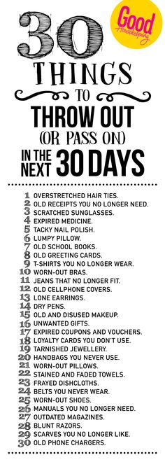 30 things to throw out in the next 30 days Clean Bedroom, Good Housekeeping, Hair Ties, Family Life, Homemaking, Clean House, Declutter, Organize, Clever