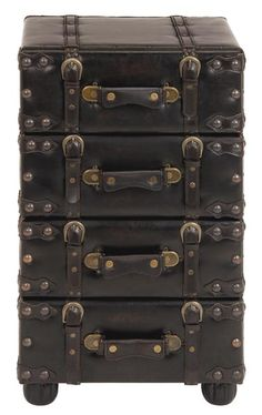 """Nostalgic Leather Upholstered Hall Chest Cabinet  Nostalgic Leather Upholstered Hall Chest Cabinet. A hall chest with old time charm but elegant featuring leather box style design resting on four flared rounded legs. Chest has 4 drawers and all have leather strap hardware to open them. Finished in Antiqued distress black leatherate on hard wood frame. Fully assembled. 28""""Hx 16""""W x 14""""D."""